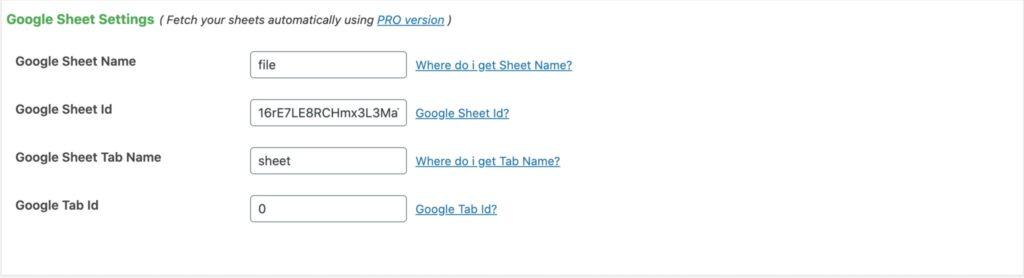 Google Sheet Settings